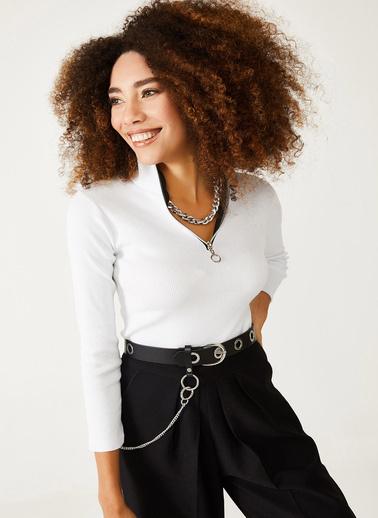 XHAN Lila Kaşkorse Fermuarlı Bluz 1Kxk2-44411-26 Beyaz